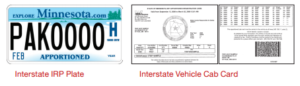 Minnesota Interstate License Plate and Cab Card Image